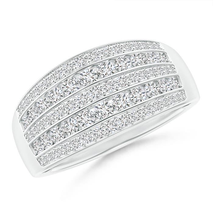 Multi-Row Diamond Tapered Anniversary Band - Angara.com