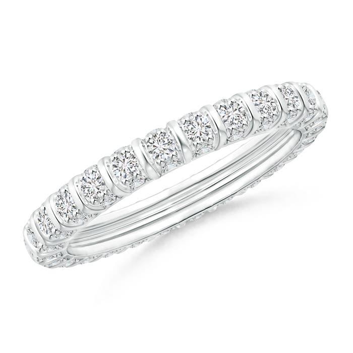 Bar Ridge Three-Sided Diamond Eternity Wedding Band - Angara.com