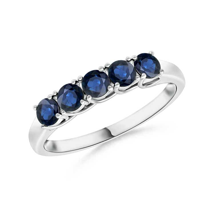 Half-Eternity-Five-Stone-Natural-Blue-Sapphire-Wedding-Band-14K-Gold-Size-3-13