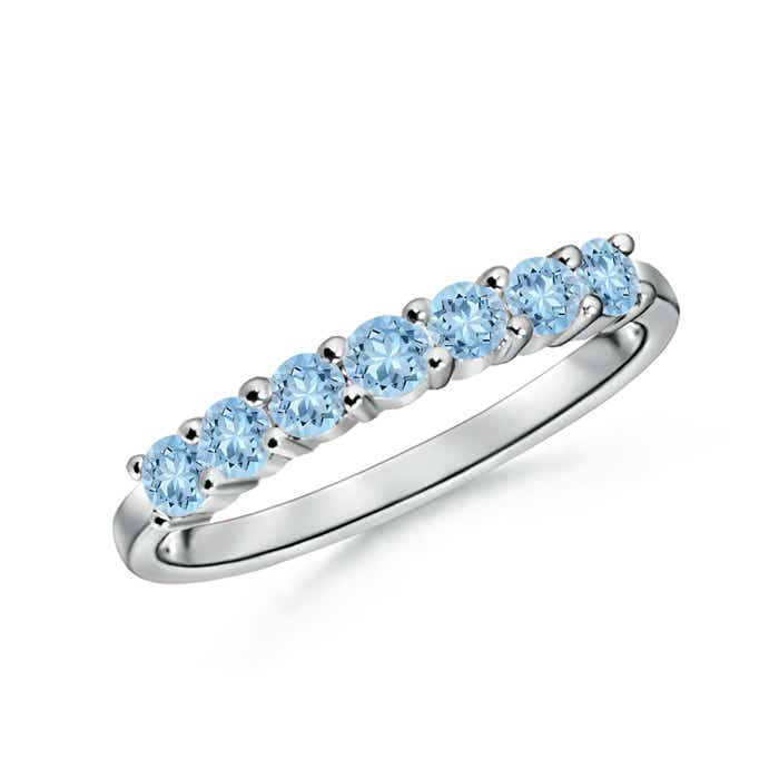half eternity seven stone aquamarine wedding band - Aquamarine Wedding Ring