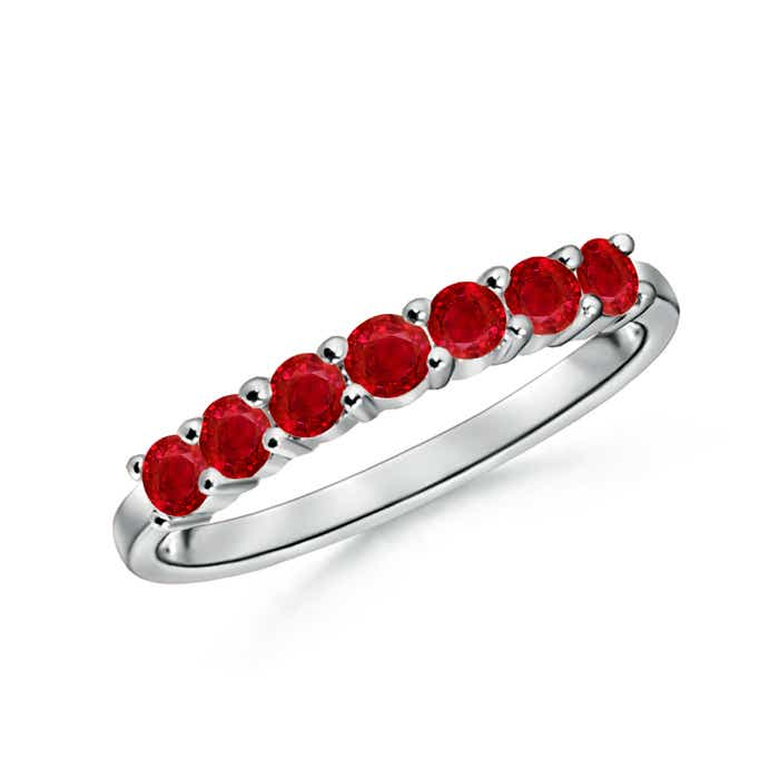 Half Eternity Seven Stone Ruby Wedding Band - Angara.com