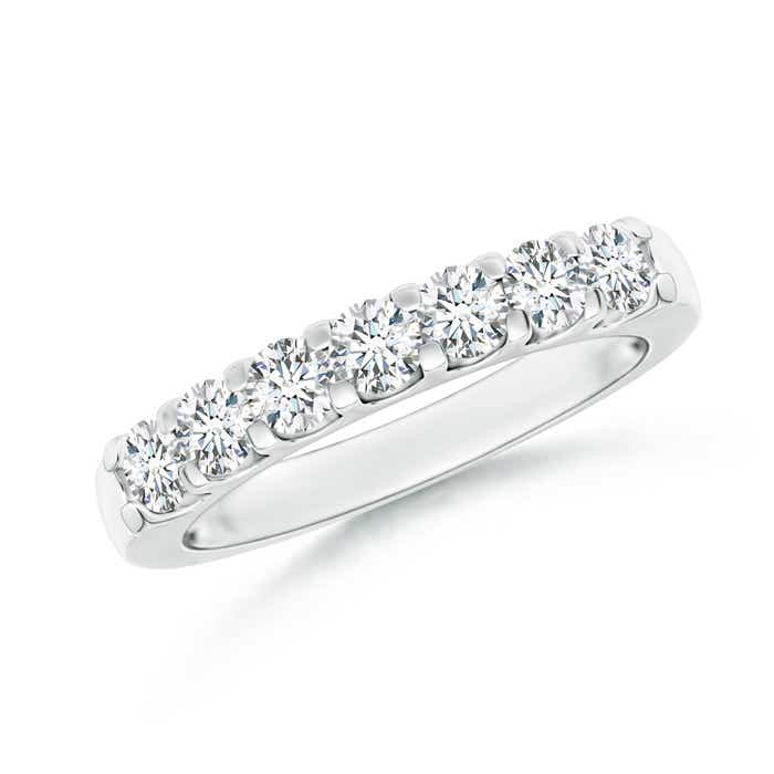 Classic Round Moissanite Half Eternity Wedding Band - Angara.com