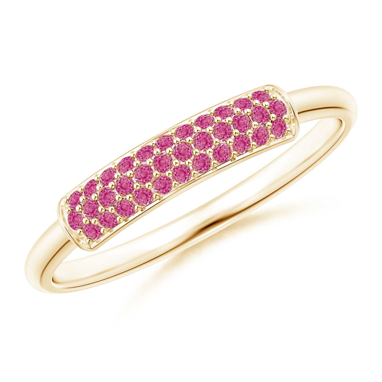 Triple Row Natural Pink Sapphire Dome Wedding Band Silver/ Gold Size ...