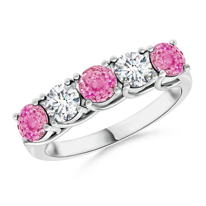 Half Eternity 5 Stone Pink Sapphire & Diamond Wedding Band - Angara.com