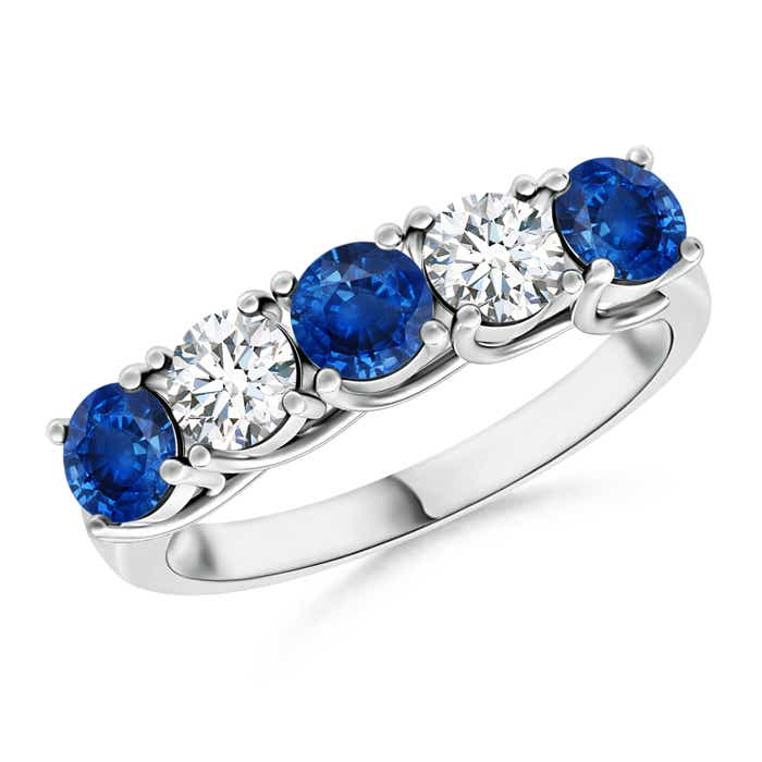 Half Eternity Five Stone Sapphire and Diamond Wedding Band Angara