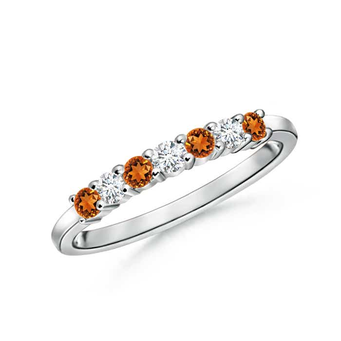 Half Eternity Seven Stone Citrine and Diamond Wedding Band