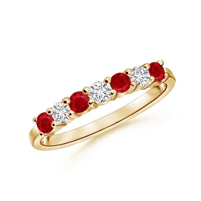 Half Eternity Seven Stone Ruby and Diamond Wedding Band - Angara.com