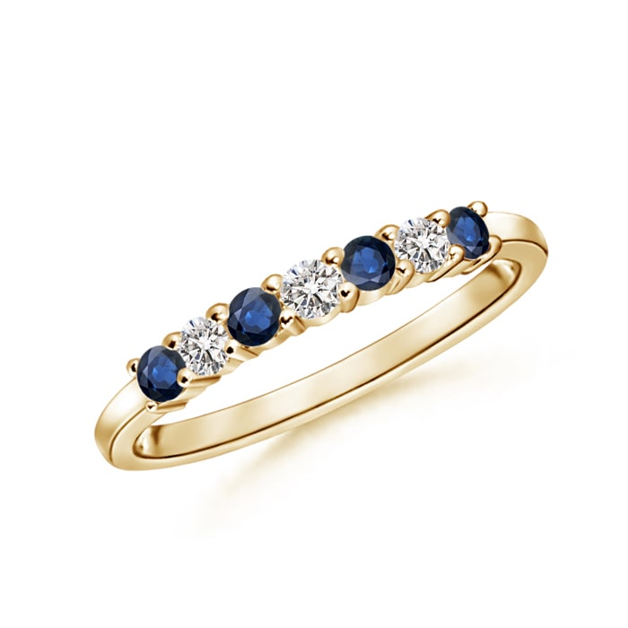 Half-Eternity-Natural-Sapphire-amp-Diamond-Women-Wedding-Band-14K-Yellow-Gold