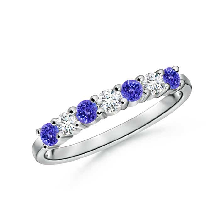 Angara Natural Tanzanite Solitaire Vintage Ring in White Gold