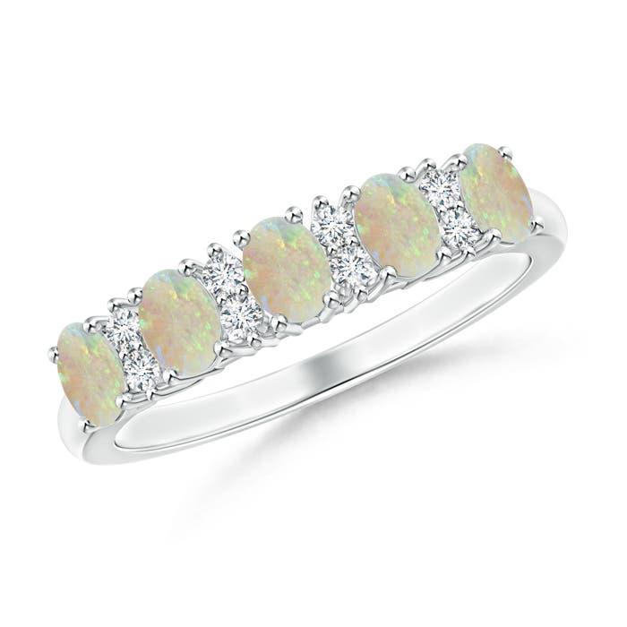 Five Stone Opal and Diamond Wedding Band - Angara.com