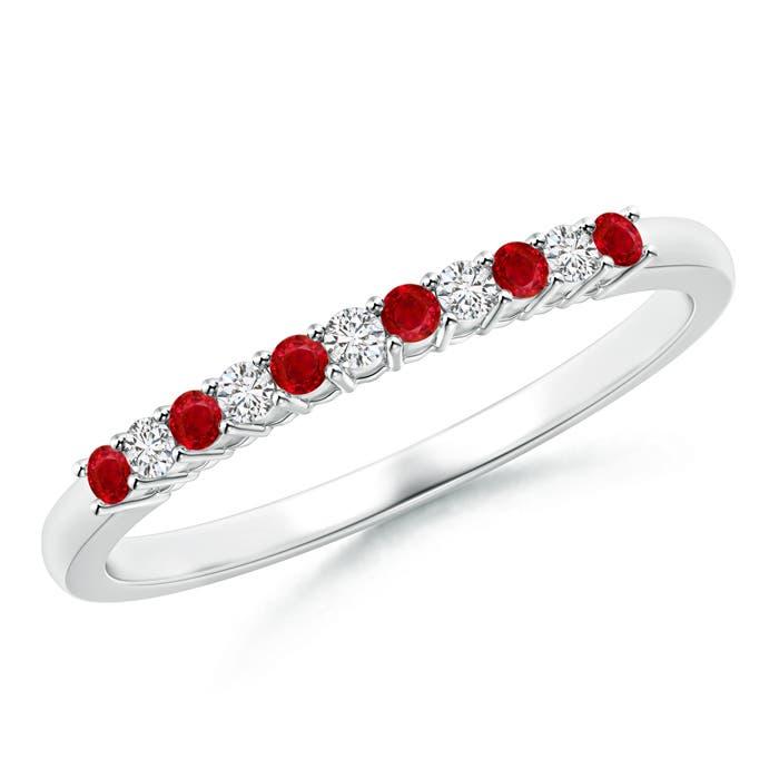Ruby and Diamond Half Eternity Wedding Band - Angara.com