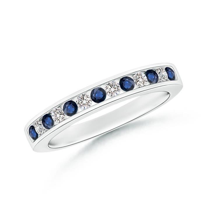 Channel Set Sapphire and Diamond Semi Eternity Band - Angara.com