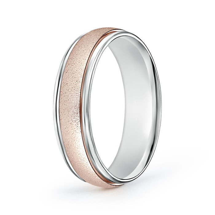 Contemporary Two Tone Wedding Band for Him - Angara.com