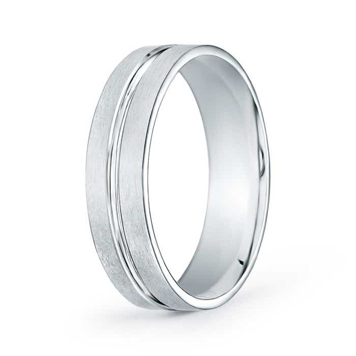 Satin Finish Convex Cut Wedding Band - Angara.com