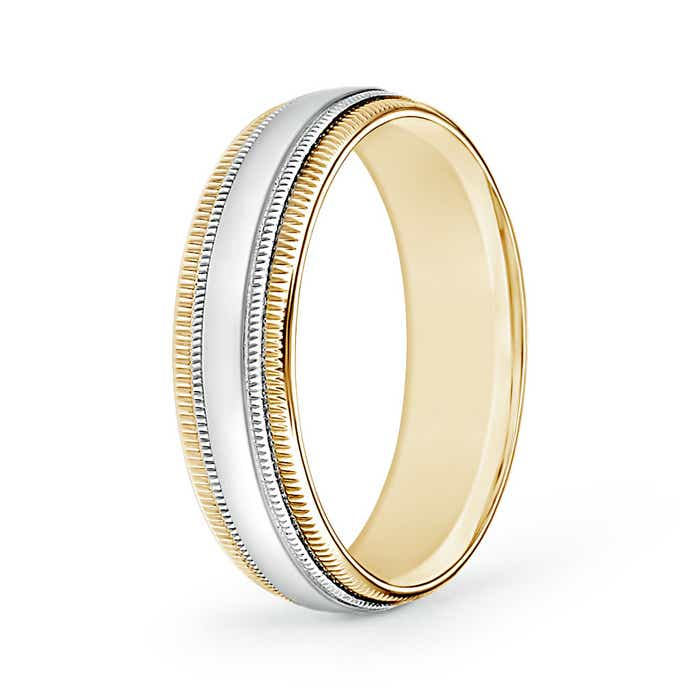 Mid Dome Double Milgrain Wedding Band in White and Yellow Gold - Angara.com