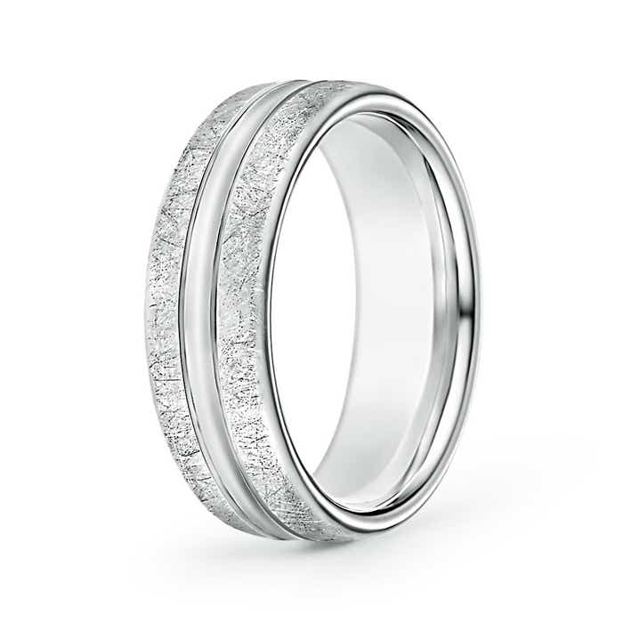 Swirl Finish Center Grooved Comfort Fit Wedding Band - Angara.com