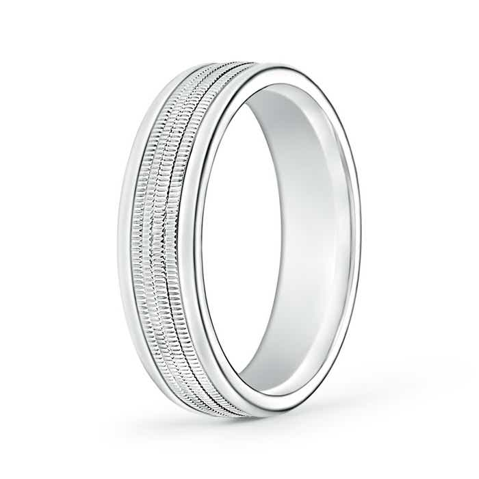 Milgrain Comfort Fit Wedding Ring In Platinum 6mm: 6mm Wide Comfort Fit Milgrain Mens Wedding Band In 14k