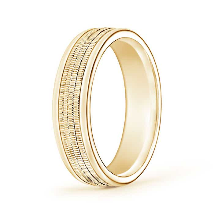 6mm Wide Comfort Fit Milgrain Mens Wedding Band In 14k
