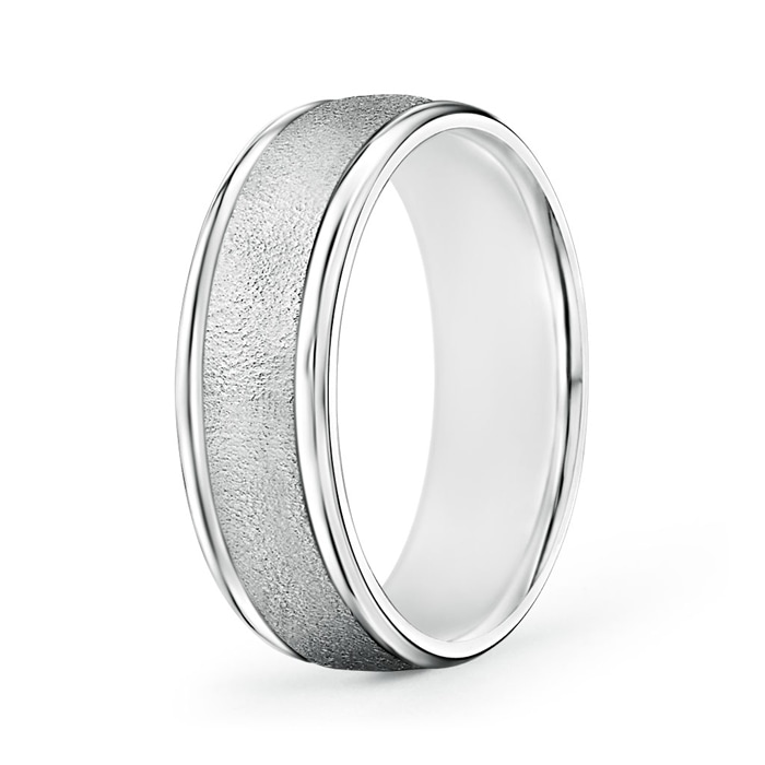 Polished Edges Wired Finish Comfort Fit Wedding Band - Angara.com