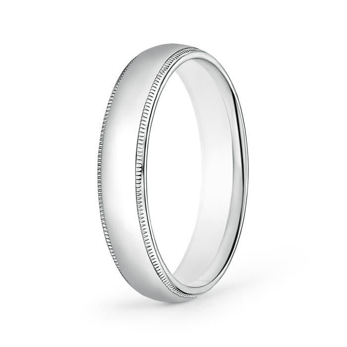 Platinum Double Milgrain 6mm Wide Flat Wedding Band Ring: 5mm Wide Classic Milgrain Comfort Fit Mens Wedding Band