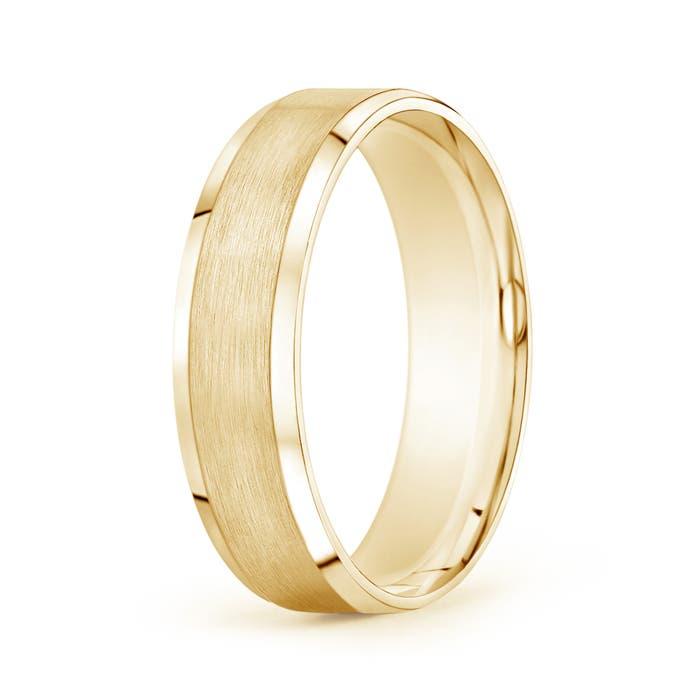 Beveled Edge Satin Comfort Fit Wedding Band - Angara.com