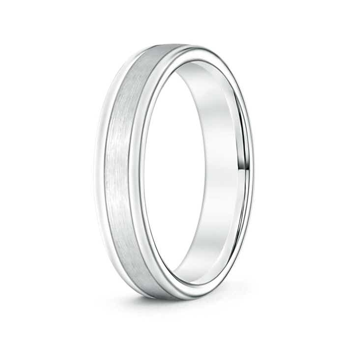 Td123864w 14k White Gold Double Milgrain 4mm Comfort Fit: 4mm Wide Comfort Fit Satin Finish Mens Wedding Band 14k