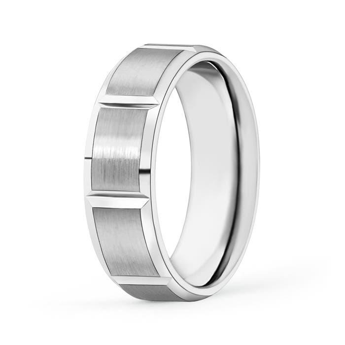 Satin Finish Brick Pattern Tungsten Carbide Wedding Band - Angara.com