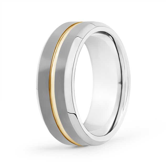 Matte 8mm Tungsten Carbide Wedding Band with Grooved Center - Angara.com