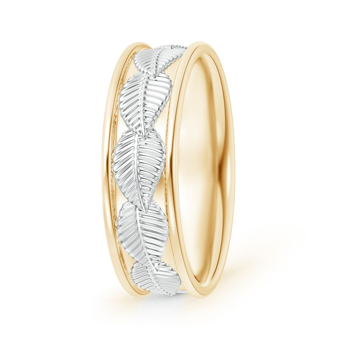 Embossed Leaf Pattern Comfort-Fit Men's Wedding Band in Two Tone - Angara.com