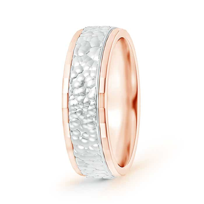 Mirror-Cut Edged Hammered Comfort-Fit Wedding Band in Two Tone - Angara.com