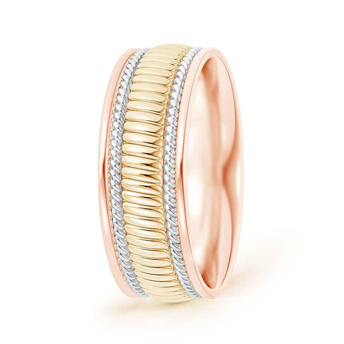 Center Braided Coil Comfort-Fit Men's Wedding Band in Tri Color - Angara.com