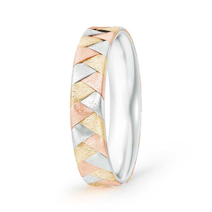 Tri Color Hand Braided Comfort-Fit Men's Wedding Band - Angara.com