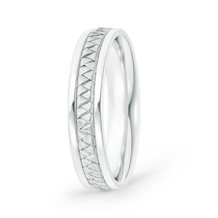 Hand Woven Comfort Fit Mens Wedding Band
