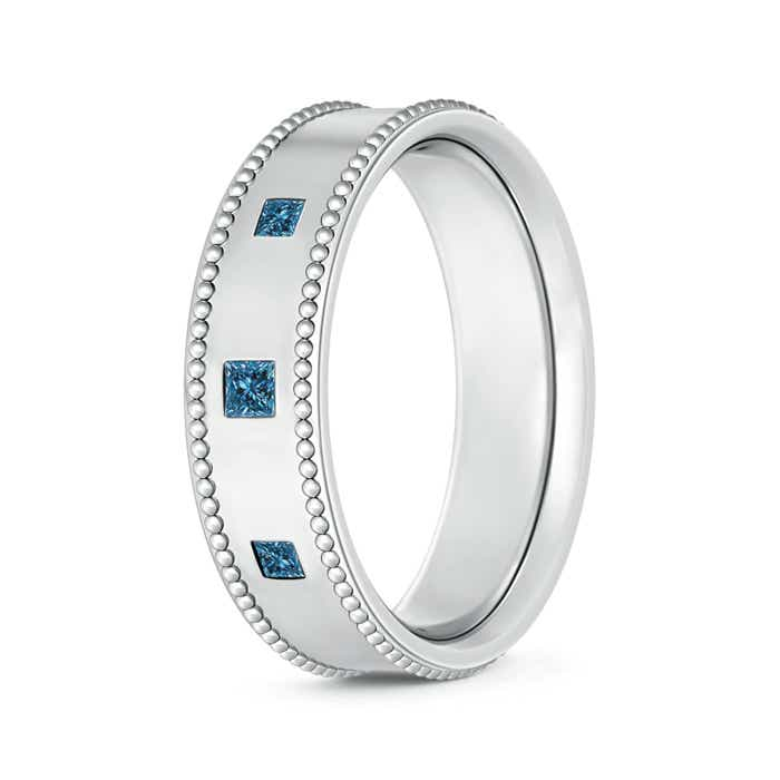 Three Stone Princess Enhanced Blue Diamond Men's Wedding Band - Angara.com