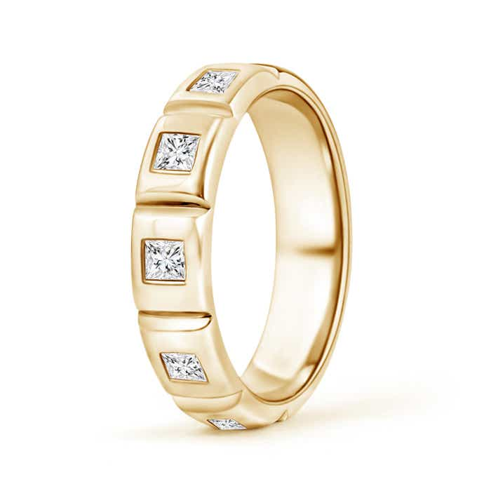 Polished Gypsy Set Princess Diamond Five Stone Wedding Band - Angara.com