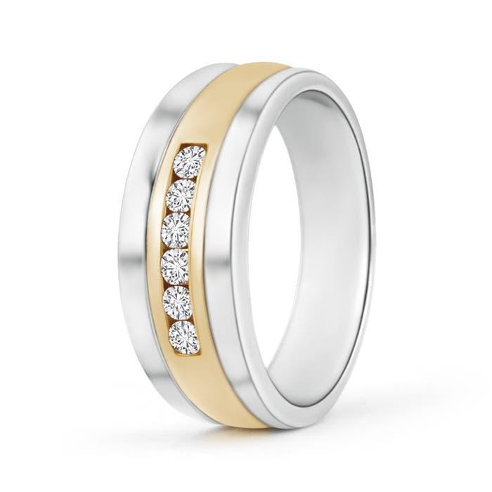 Channel Set Men's Diamond Wedding Band in Two Tone Gold - Angara.com