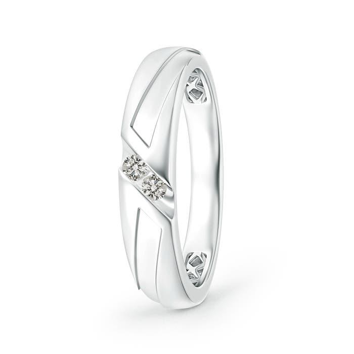 Angara Slanted Channel Set Diamond Wedding Band for Him edSo71YJ