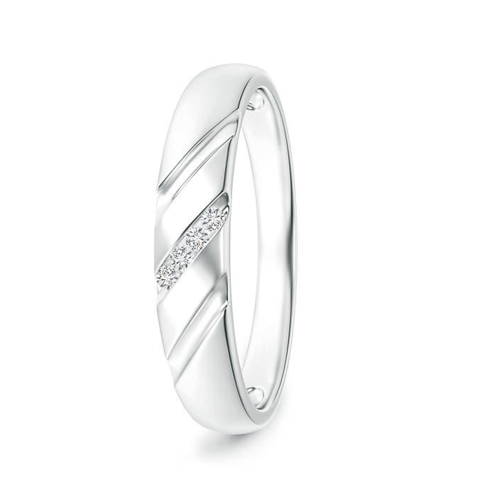 Triple-Ribbed Channel Set Diamond Men's Wedding Band - Angara.com
