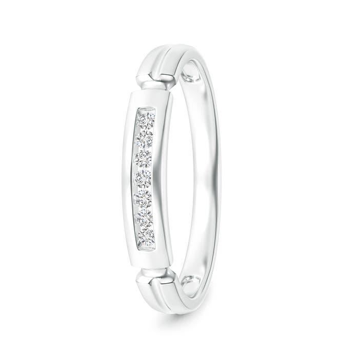 Incised Channel-Set Diamond Half Eternity Men's Wedding Band - Angara.com