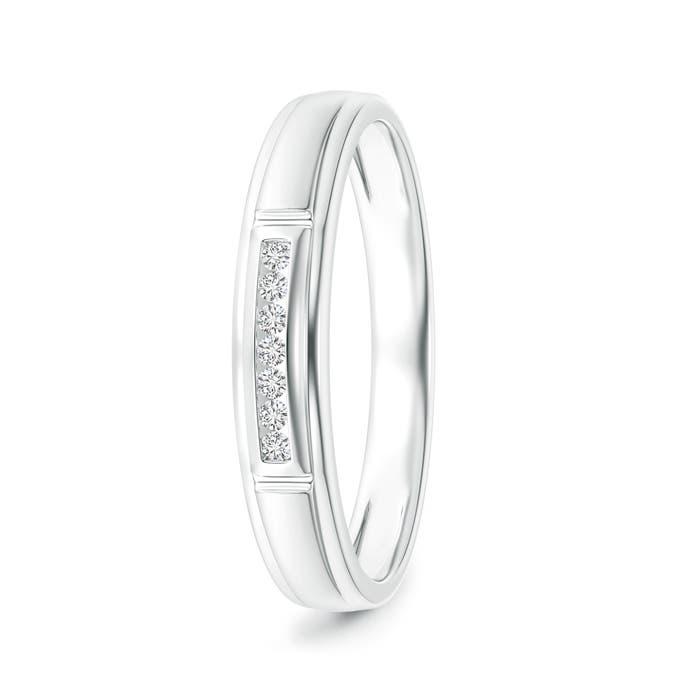 Vertical Grooved Diamond Half Eternity Men's Wedding Band - Angara.com