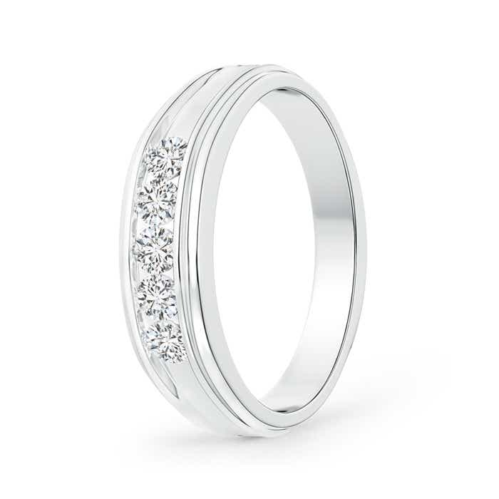 Channel-Set Diamond Five Stone Men's Wedding Band - Angara.com