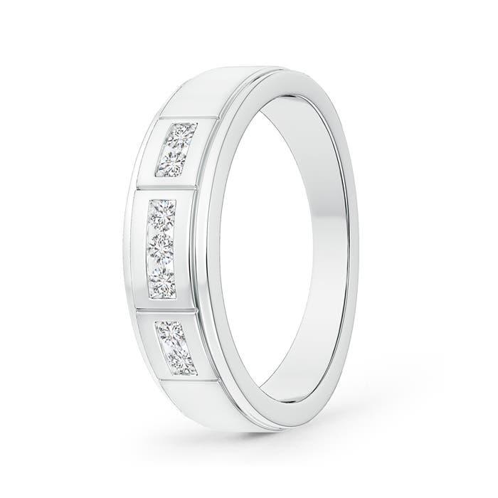 Step-Edged Channel-Set Diamond Men's Wedding Band - Angara.com