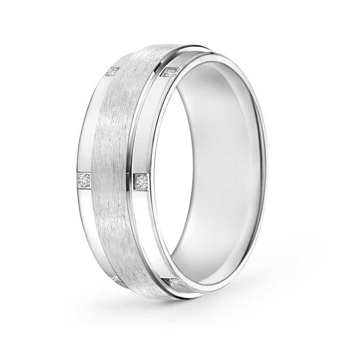 Satin Finish Pave Set Men's Diamond Wedding Band - Angara.com