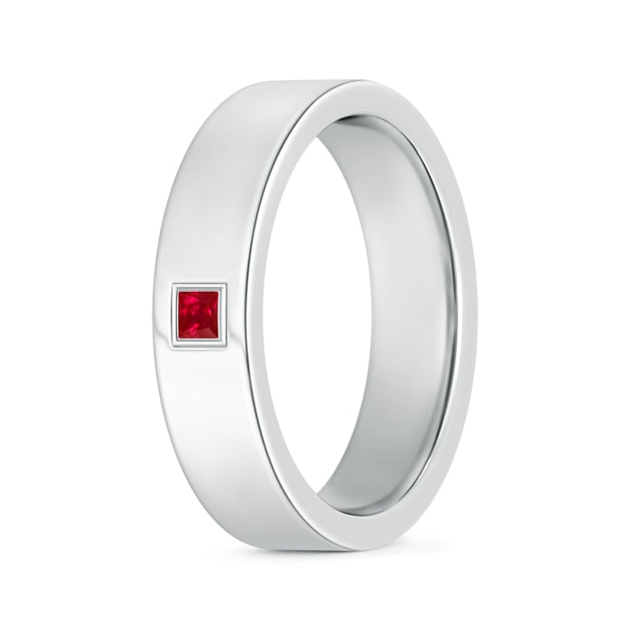 Gypsy Set Square Ruby Solitaire Wedding Band for Men - Angara.com