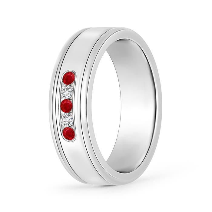Round Ruby and Diamond Five Stone Grooved Wedding Band - Angara.com