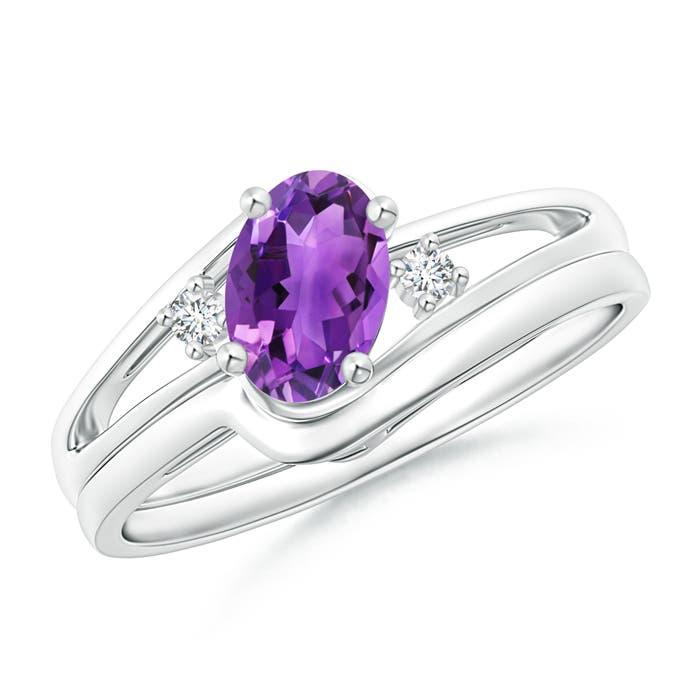 Split Shank Amethyst Engagement Ring With Wedding Band Angara