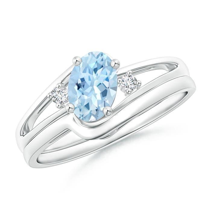split shank aquamarine engagement ring with wedding band