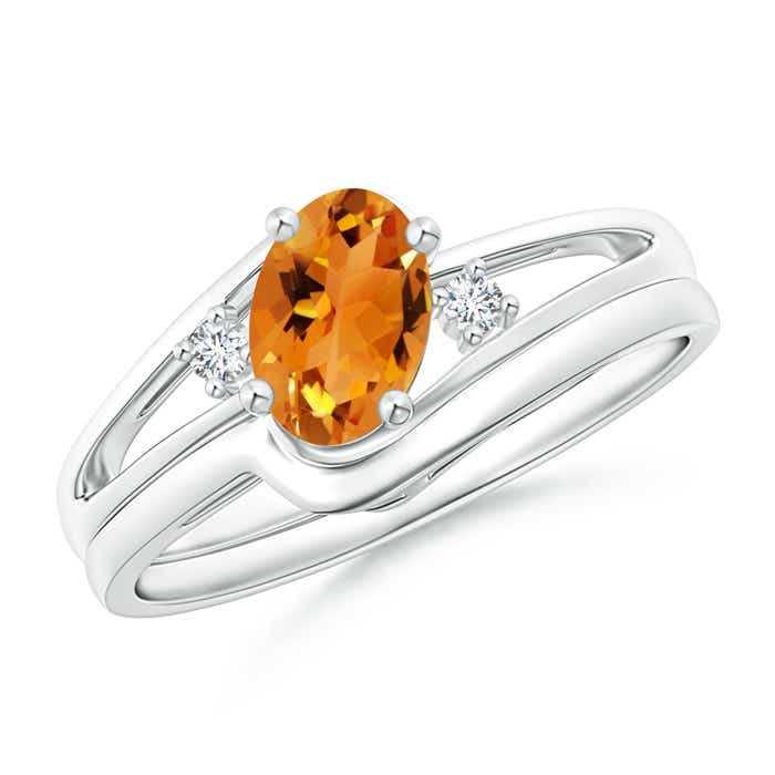 Split Shank Citrine Engagement Ring with Wedding Band - Angara.com