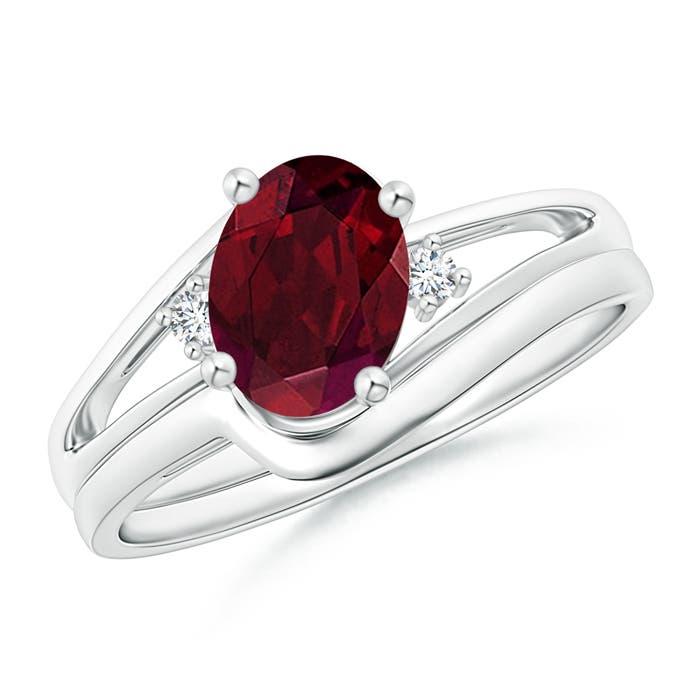 Angara Amethyst Diamond Wedding Band Ring Set in White Gold e74AGhQgwD