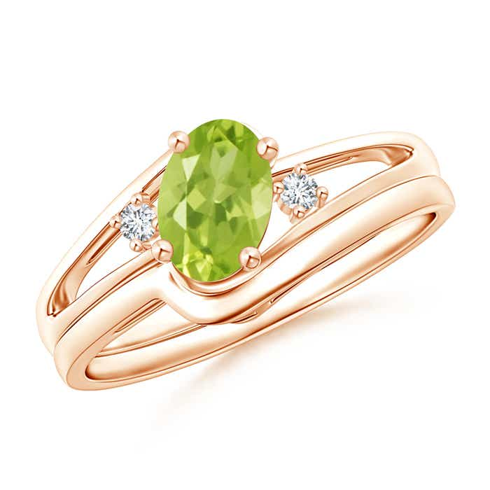 Solitaire Peridot Engagement Ring Without Stone Wedding Band Set